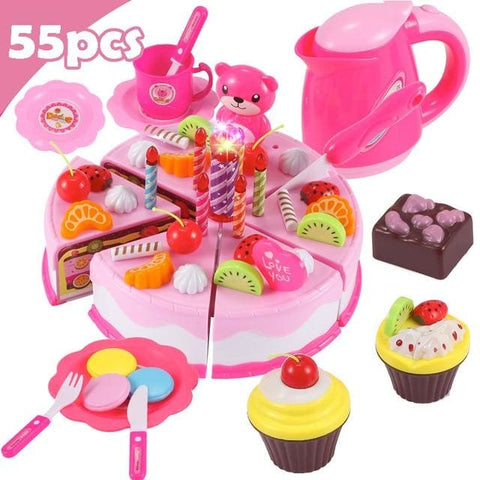 Pretend Play Food - Qwz069-55Pcs-Pink