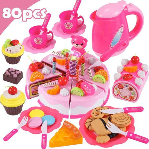 Pretend Play Food - Qwz069-80Pcs-Pink