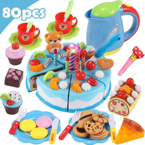 Pretend Play Food - Qwz069-80Pcs-Blue