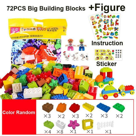 Image of Big Building Blocks - 72Pcs With Figure