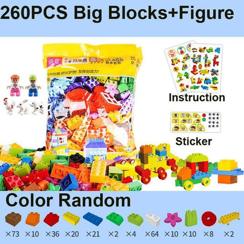 Image of Big Building Blocks - 260Pcs With Figure