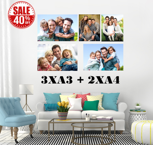3 x A3 + 2 x A4 Block Mounted Full Colour Canvas