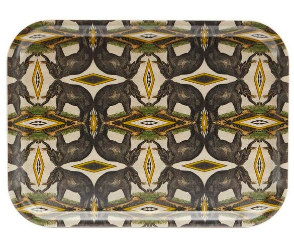 Elephants Birch Wood Tray
