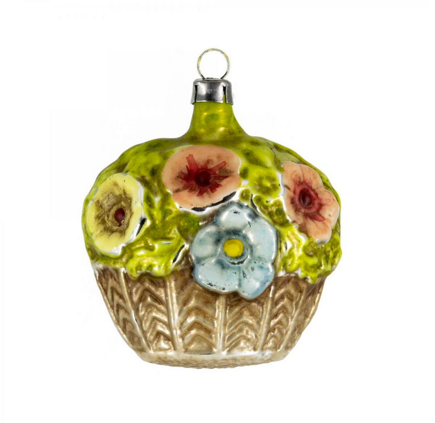 Vintage Flower Basket Glass Ornament