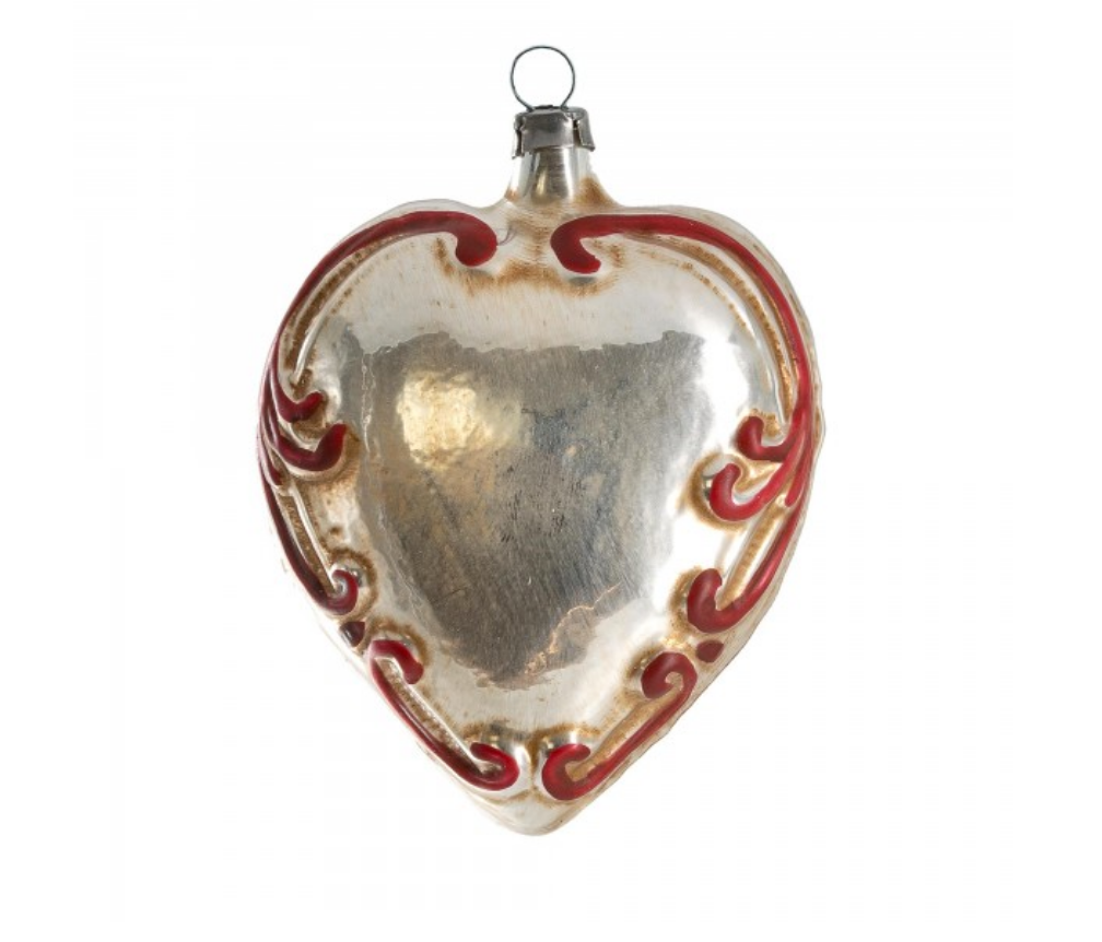 Vintage Baroque Glass Heart Ornament