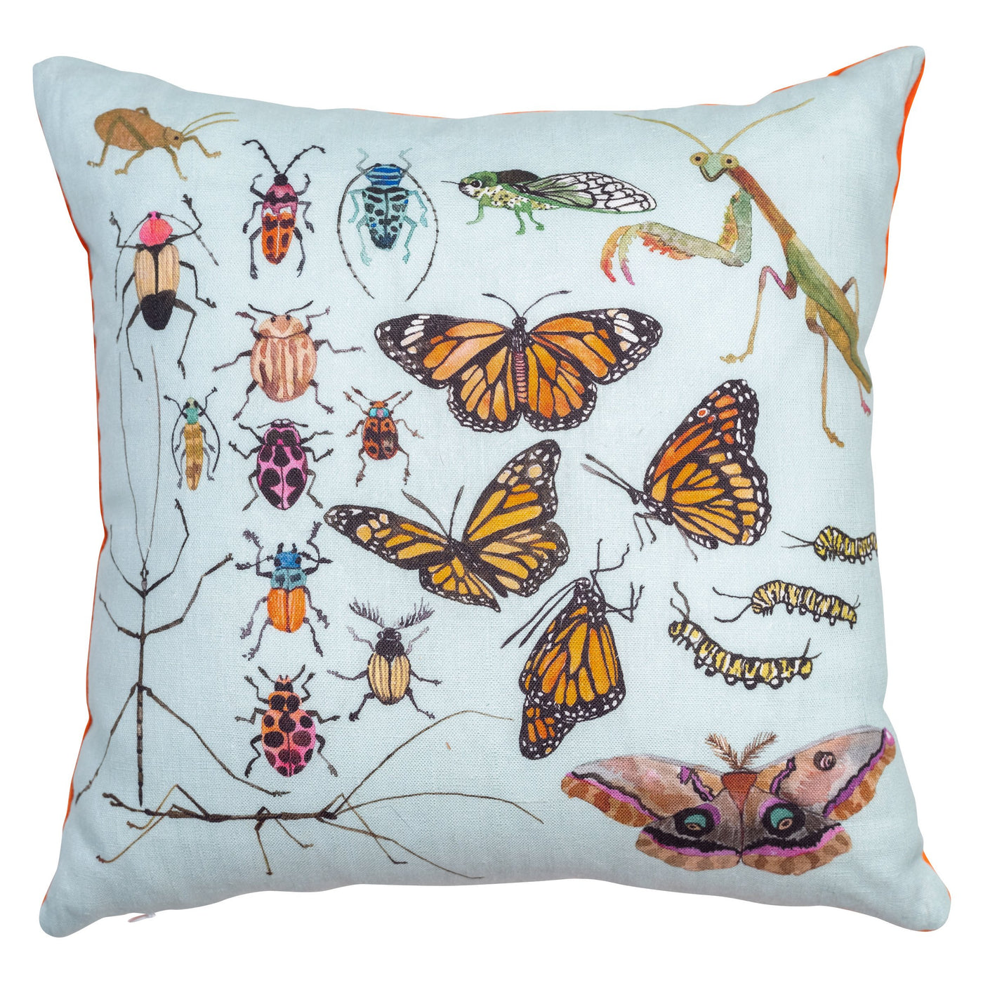 "Insects in Blue Pillow 16"" x 16"""
