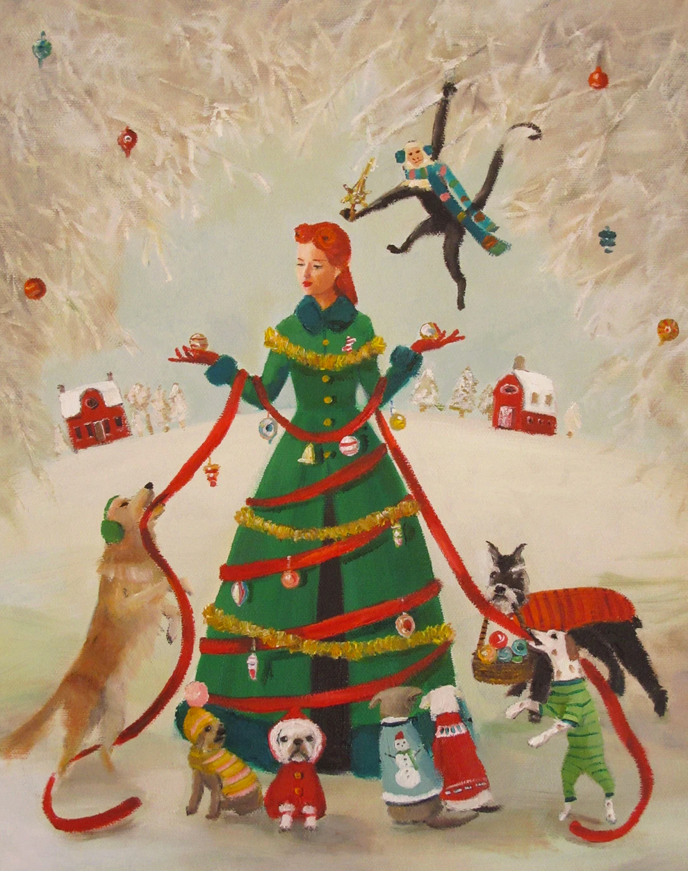A Miss Moon Christmas Lesson 1: Do Not Mistake People Wearing Green Coats For Christmas Trees, Art Print