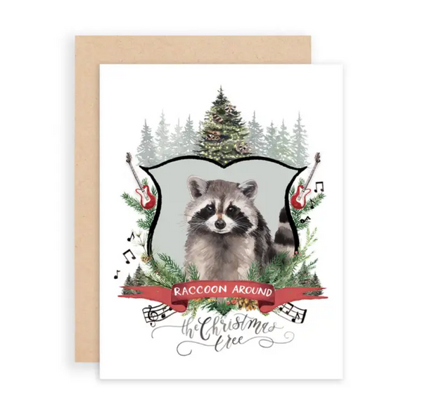 Raccoon Around the Christmas Tree Greeting Card
