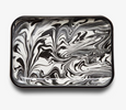 Black and White Swirl Enamel Tray