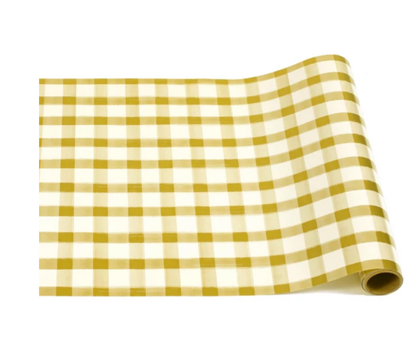 Gold Painted Check Table Runner