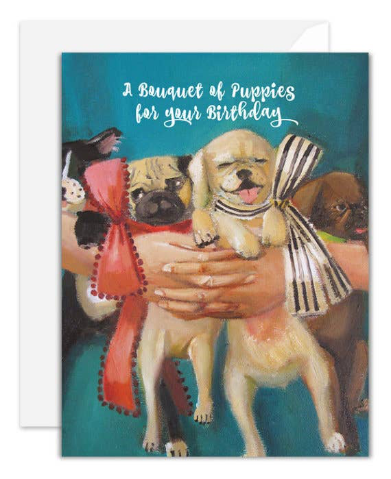 A Bouquet of Puppies Birthday Card