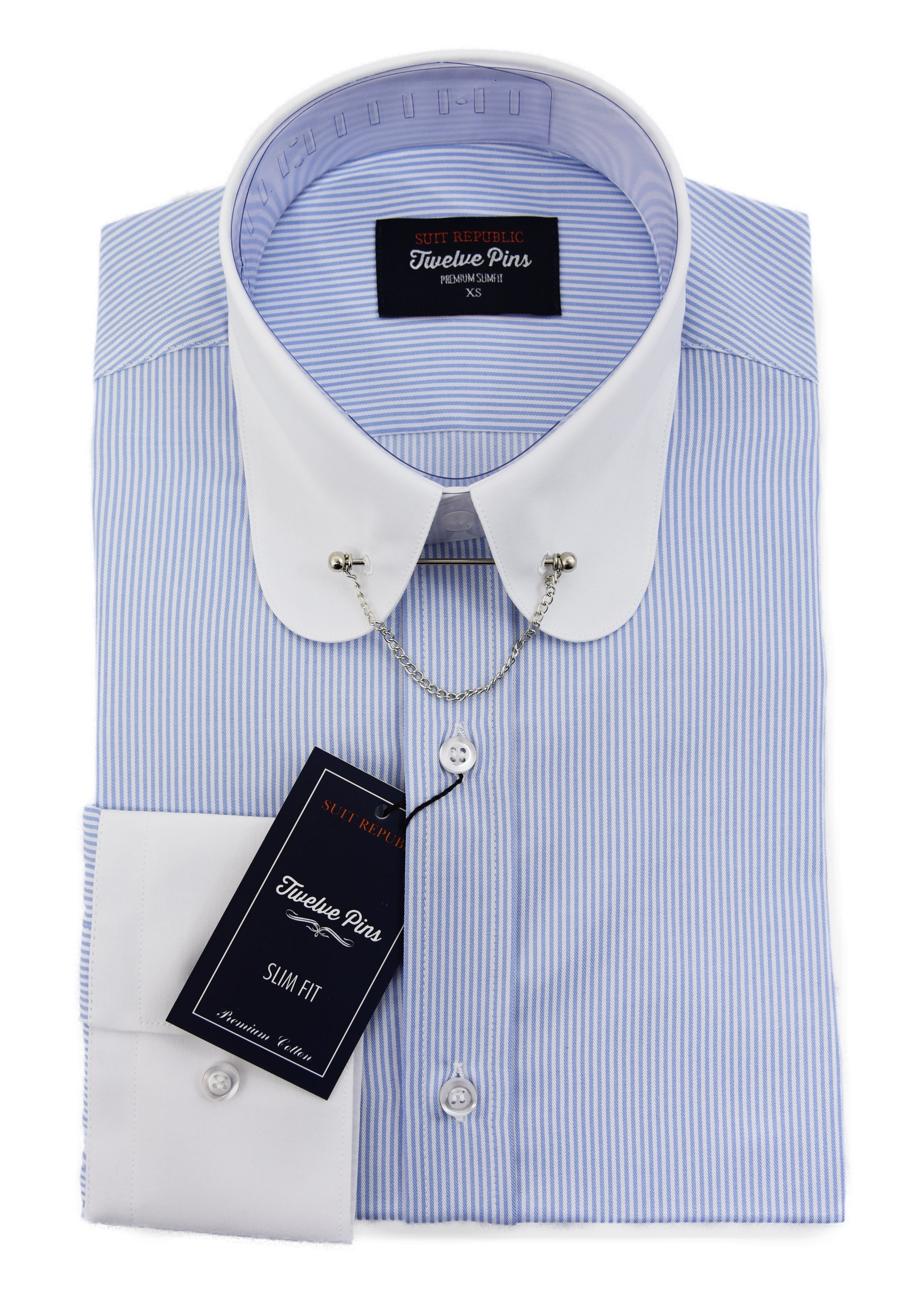 shop for original shop for fashion Muckana: Blue & White Penny Collar Slim Fit Shirt