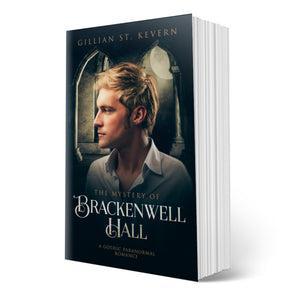 The Mystery of Brackenwell Hall cover, a gay gothic romance: A pensive young man with blond hair looks to the left, marble columns behind him with the light of the full moon peeking through.