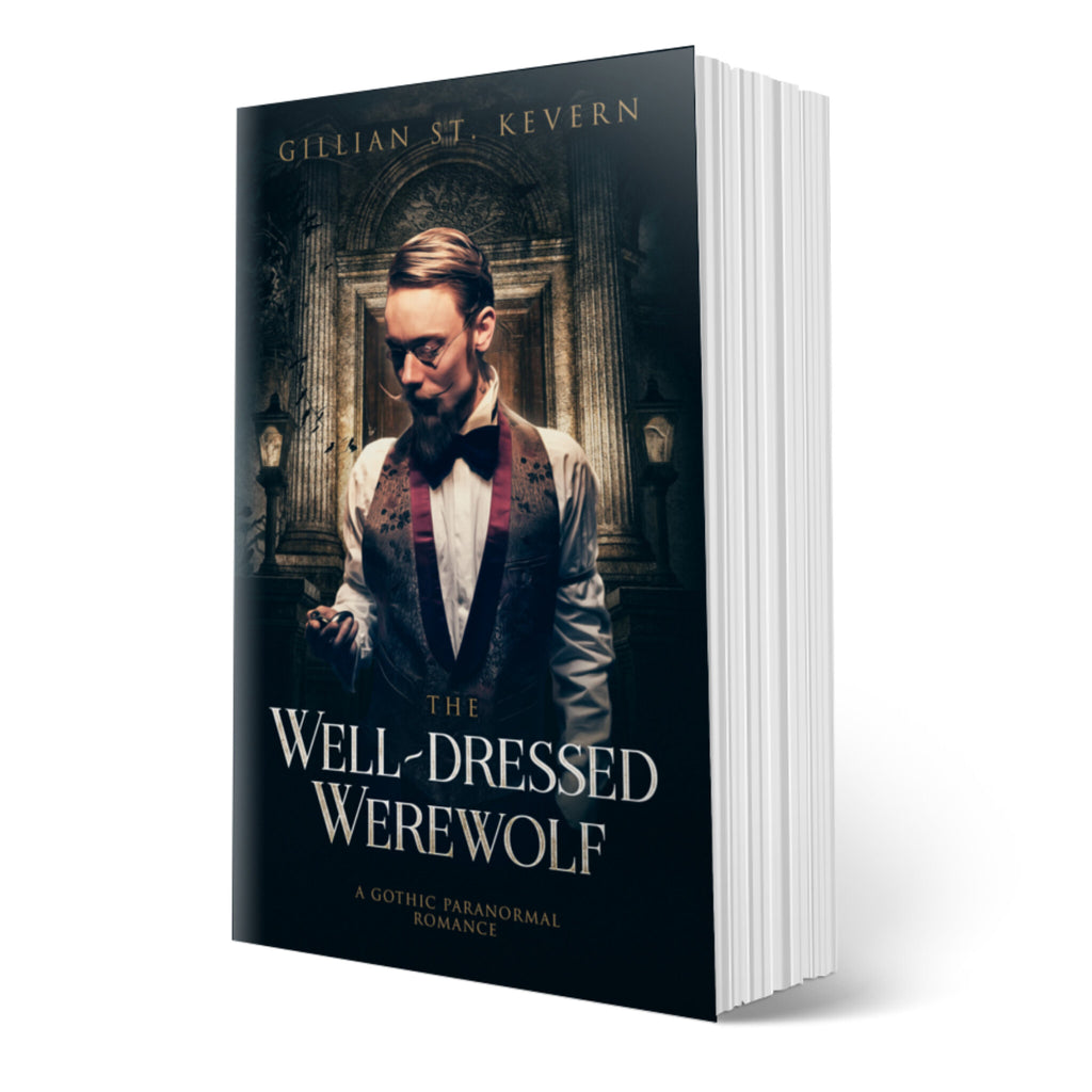 The Well-dressed Werewolf, a gay gothic mystery, cover: Westaway, with his handlebar moustache impeccably groomed and a very sharp vest and bow tie, consults a watch. He stands before a closed door which has a crypt-like aspect.