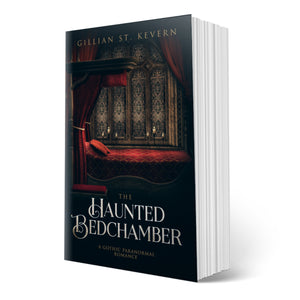 The Haunted Bedchamber cover: the crimson curtains of an old fashioned four poster bed are drawn back to reveal an empty bed, latticed windows beyond and a foreboding night sky. The very thing you expect of a gothic romance novel.