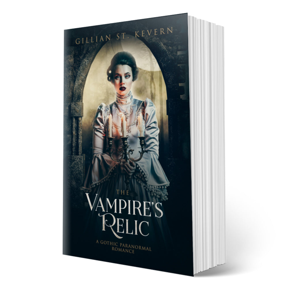 The Vampire's Relic cover: a lesbian gothic romance. A pale woman with haunted eyes looks directly at the viewer. She is wearing an elaborate Victorian dress tightly buttoned up to conceal her neck. Her dark hair is elaborately curled and drawn back. She holds a lit candelabra before her. Behind her the full moon shines through the ruins of a castle.