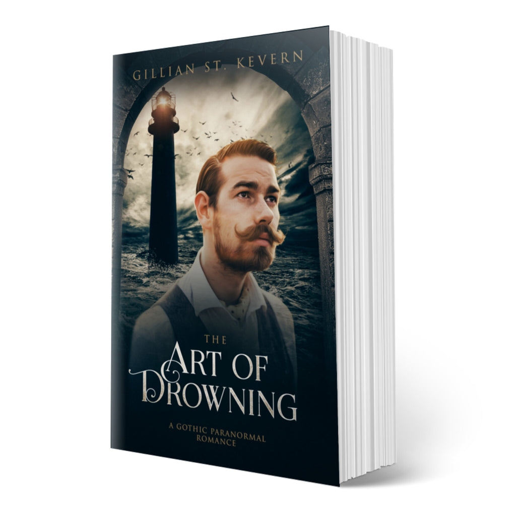 The Art of Drowning cover, a gay gothic romance with supernatural elements. A brown haired man with a very impressive moustache stares beyond the viewer, expression haunted. Behind him, a lighthouse looms out of a stormy sea.