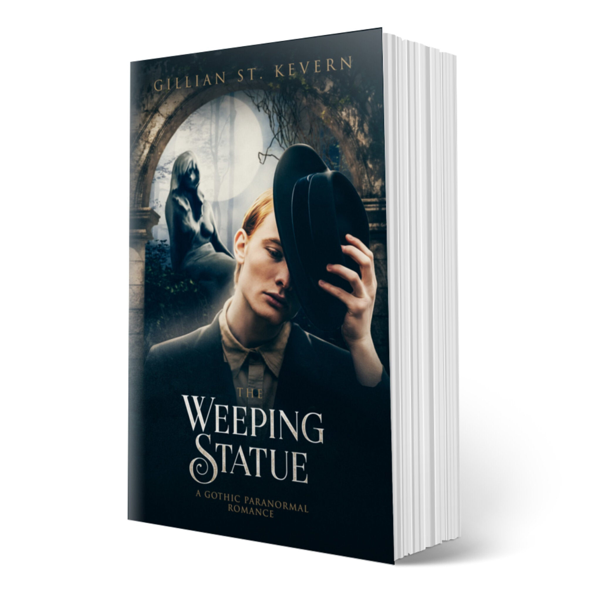 The Weeping Statue cover: A pale young man with red hair wearing a somber suit is in the act of removing his hat. His expression is mournful. Behind him, the stone statue of a woman is illuminated by the full moon, bathing the forest in an eerie glow.