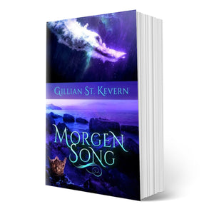 Cover of Morgen Song, a gay mythological romance: the top half features a man diving beneath the water. The bottom half features the silhouette of the rocky Welsh coast with a Medieval crown in the foreground..