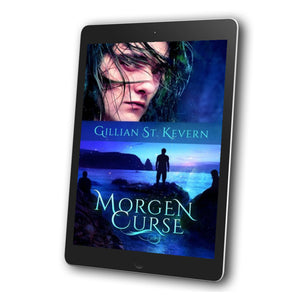 Morgen Curse, a gay mythological fantasy, cover: The cover is in two halves. In the top half, a young dark haired man (Ieuan), looks up warily from behind a curtain of hair. On the bottom half we see three figures silhouetted against the Pacific ocean. One stands, two are sitting.