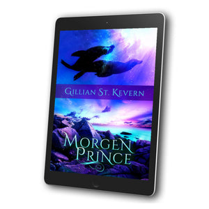 Cover of Morgen Prince, a mythological romance with a non-binary narrator: The top half of the cover features two seals swimming underwater. The lower half of the cover features the rocky Welsh shoreline.