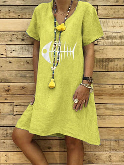 Knee-Length Print Short Sleeve Casual Pullover Dress