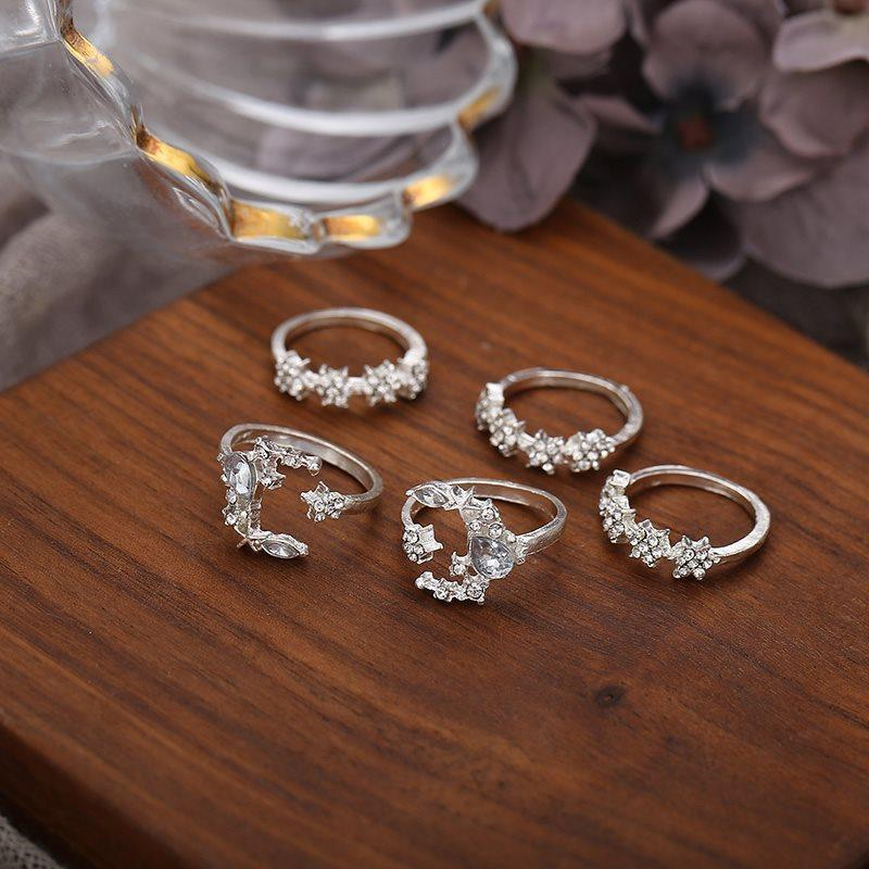 Alloy European Crystal Inlaid Anniversary Rings
