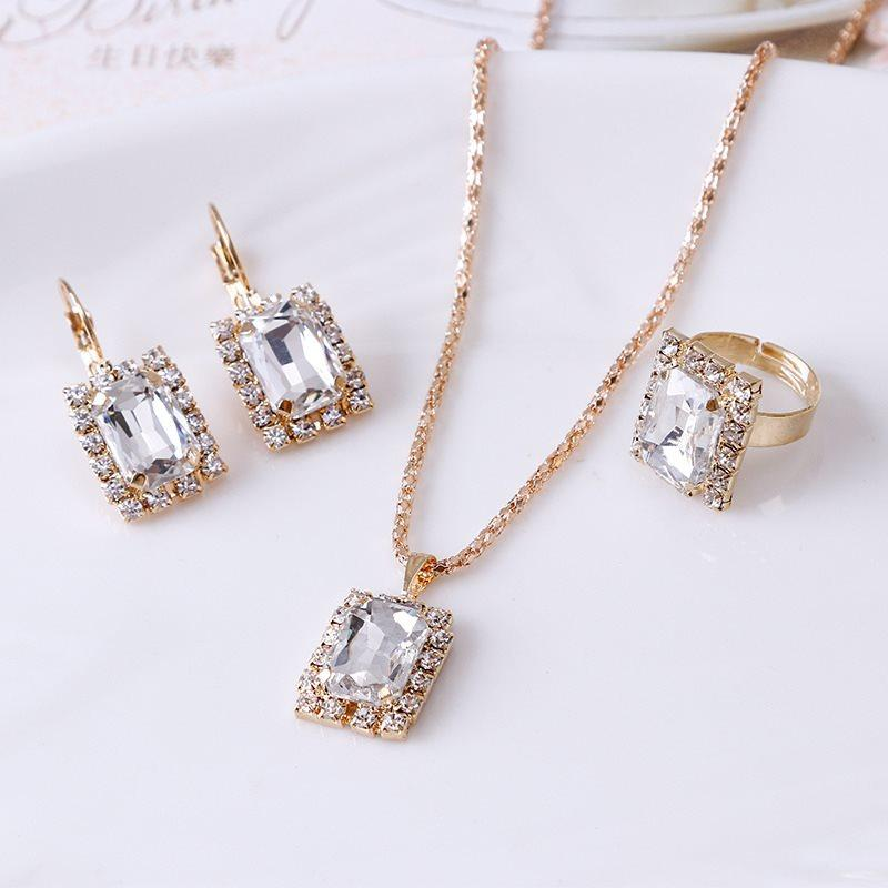 Ring Geometric Diamante Gift Jewelry Sets