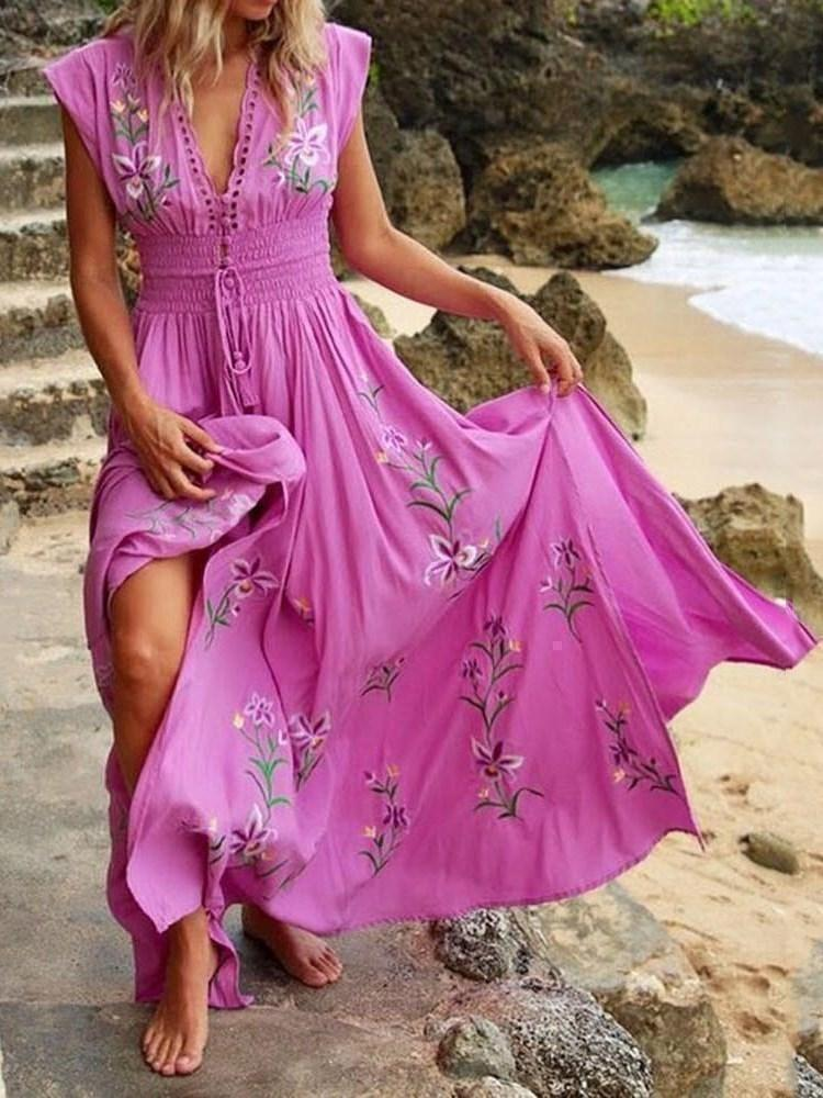 V-Neck Embroidery Floor-Length Expansion Floral Dress