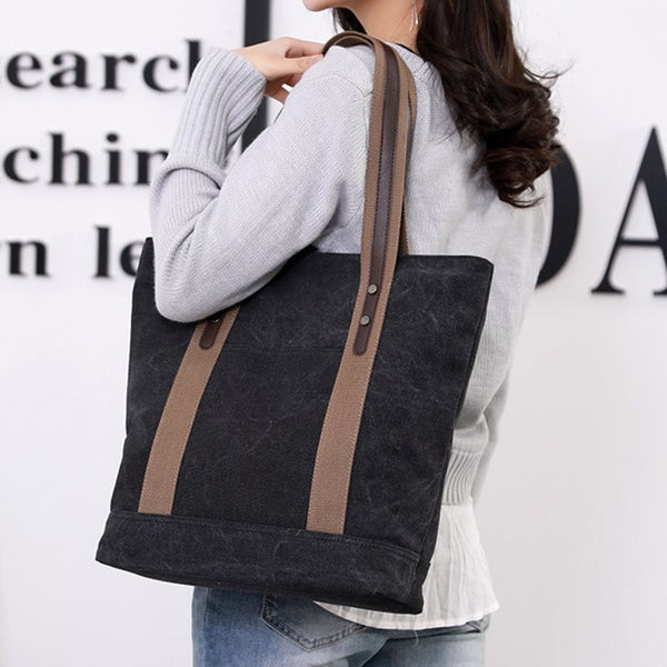 Thread Canvas Plain Shoulder Bags