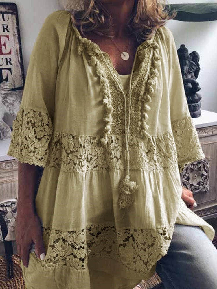 Lace Plain Mid-Length Three-Quarter Sleeve Blouse