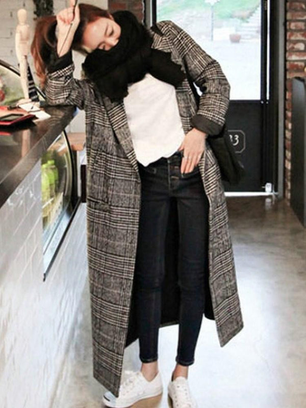 Loose One Button Regular Lapel Long Overcoat