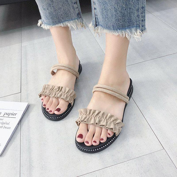 Open Toe Wedge Heel Slip-On Ankle Strap Casual Plain Sandals