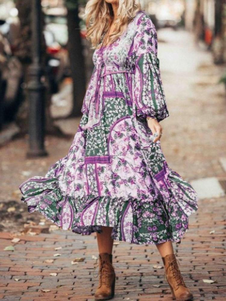 Long Sleeve Print Mid-Calf Pullover Color Block Dress