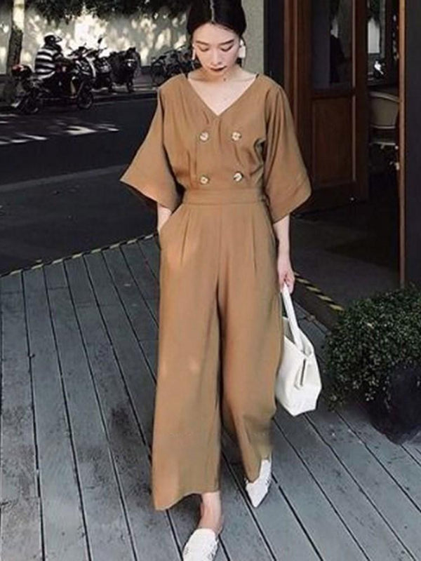 Ankle Length Casual Plain Wide Legs Loose Jumpsuit