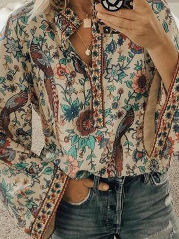 Print Floral Regular Standard Long Sleeve Blouse