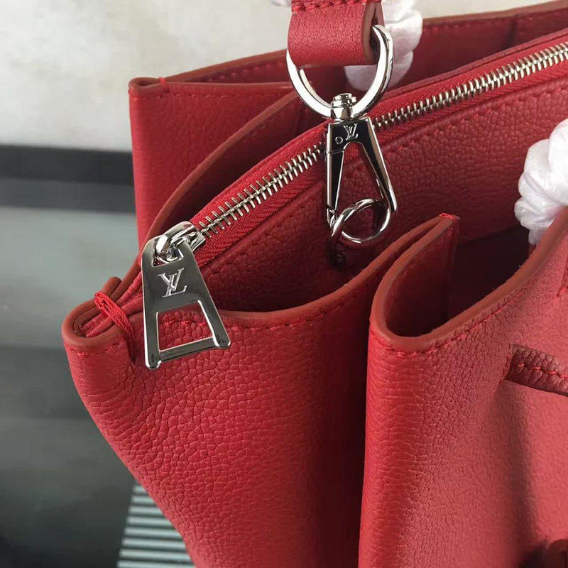 Lock Plain Leather Square Tote Bags