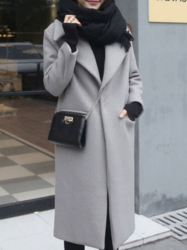 One Button Slim Long Fall Overcoat