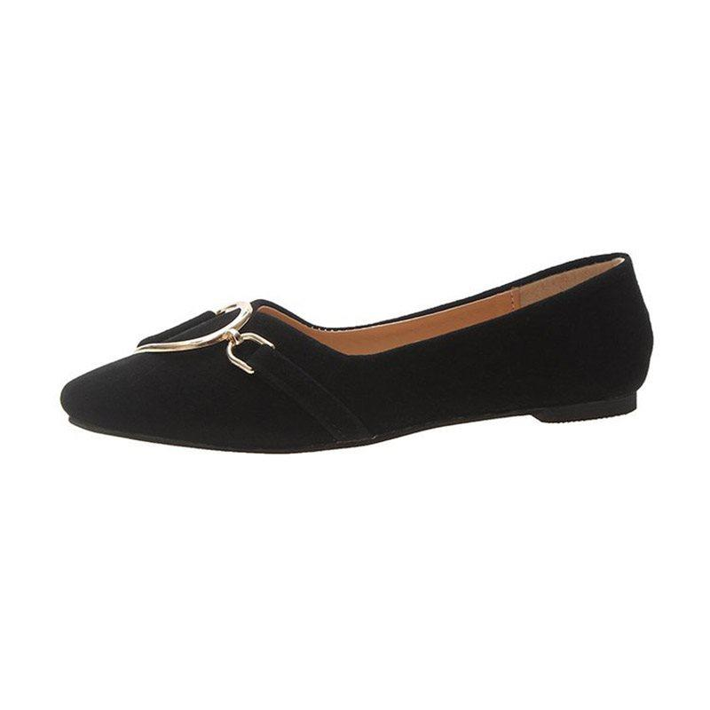 Slip-On Pointed Toe Block Heel Casual Low-Cut Upper Thin Shoes