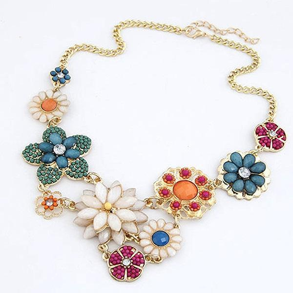 Chain Necklace Floral Bohemian Female Necklaces