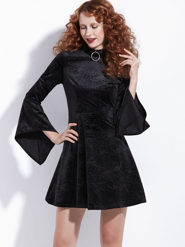 Long Sleeve Knee-Length Little Black Dress Zipper Dress