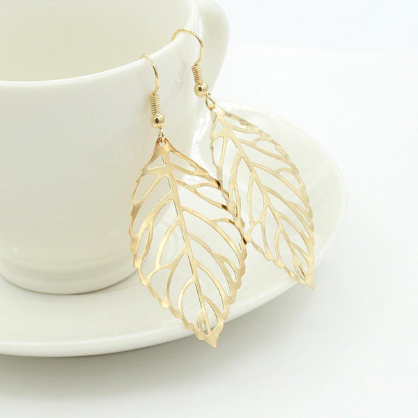 E-Plating Alloy Leaf Anniversary Earrings