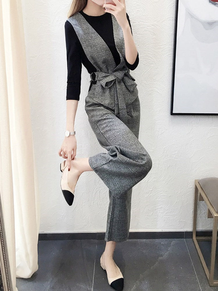 Lace-Up Japanese T-Shirt Wide Legs Round Neck Two Piece Sets