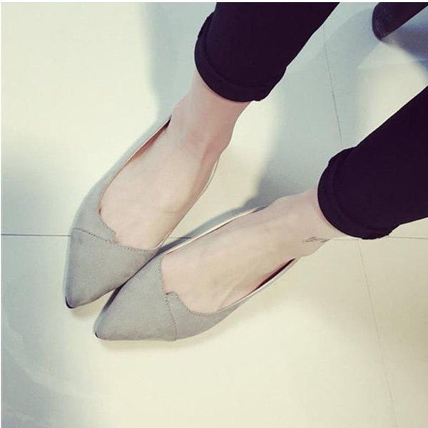 Flat With Slip-On Pointed Toe Plain Sweet Thin Shoes