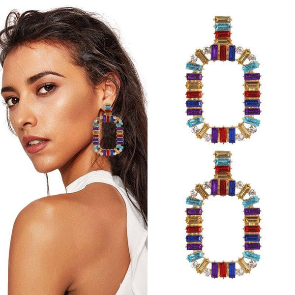 Color Block Alloy European Party Earrings