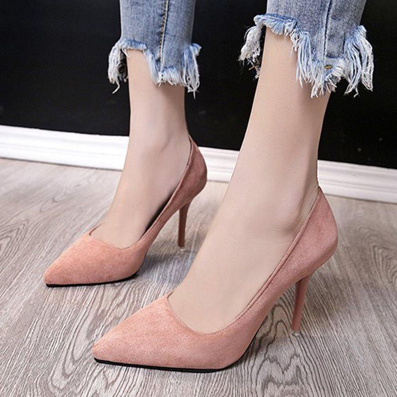 Stiletto Heel Slip-On Pointed Toe Plain Low-Cut Upper Thin Shoes