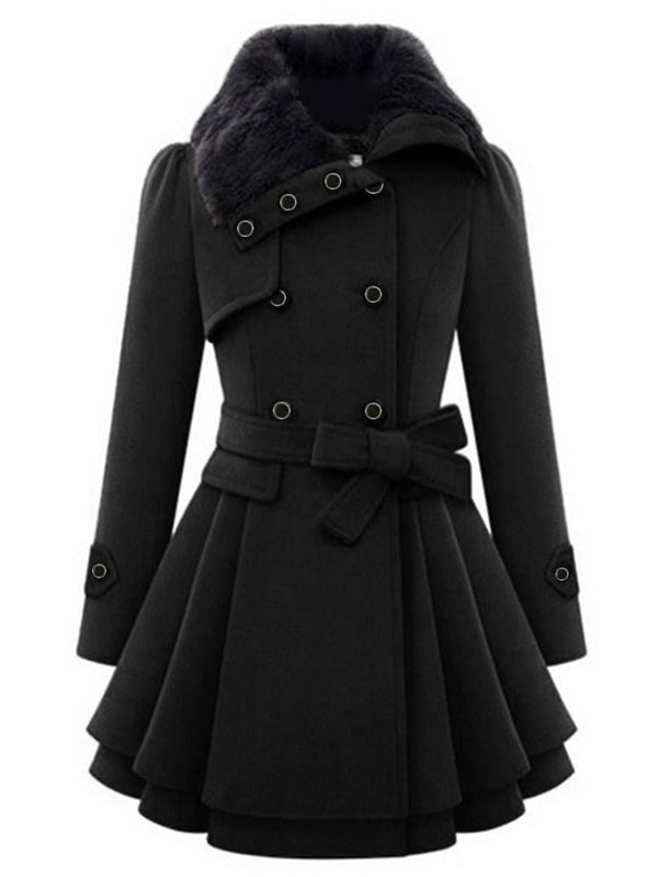 A Line Button Double-Breasted Mid-Length Lapel Overcoat