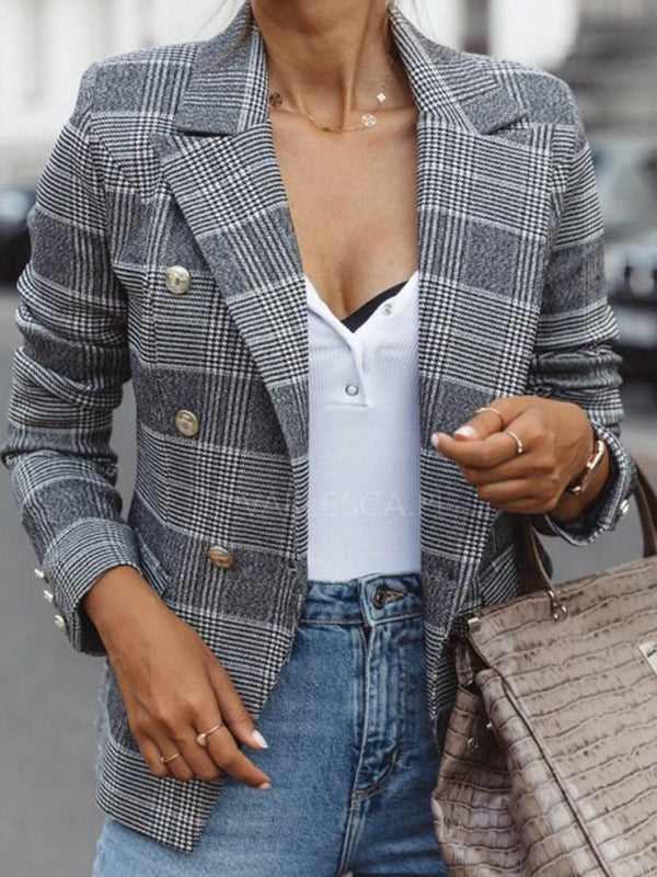 Double-Breasted Notched Lapel Plaid Standard Casual Blazer