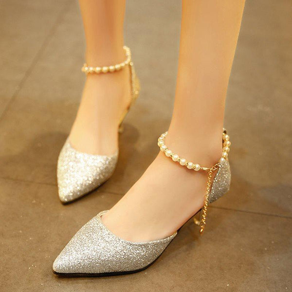Pointed Toe Sequin Stiletto Heel Line-Style Buckle Low-Cut Upper Plain Thin Shoes