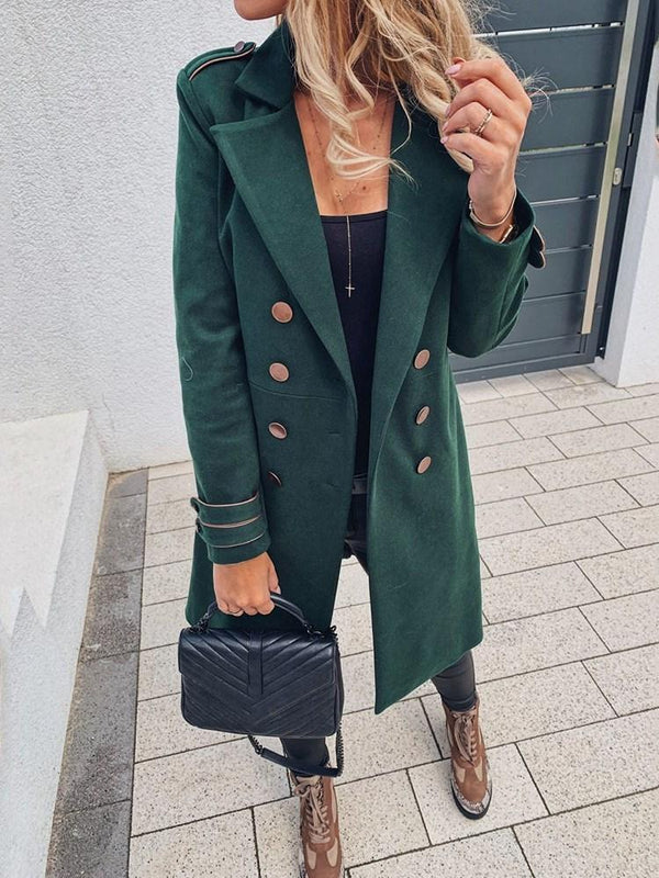 Double-Breasted Straight Long Notched Lapel Overcoat